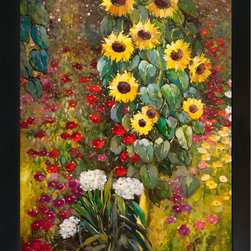overstockArt.com - Klimt - Farm Garden with Sunflowers Oil Painting - Hand painted oil reproduction of a famous Klimt painting, Farm Garden With Sunflowers. The original masterpiece was created in 1905-06. Today it has been carefully recreated detail-by-detail, color-by-color to near perfection. Gustav Klimt (1862-1918) was one of the most innovative and controversial artists of the early twentieth century. Influenced by European avant-garde movements represented in the annual Secession exhibitions, Klimt's mature style combines richly decorative surface patterning with complex symbolism and allegory, often with overtly erotic content. This work of art has the same emotions and beauty as the original. Why not grace your home with this reproduced masterpiece? It is sure to bring many admirers!