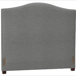 "Raleigh Nailhead Camelback Headboard, Queen, Washed Linen/Cotton Metal Gray - Crafted by our own master upholsterers in the heart of North Carolina, our upholstered bed and headboard is available in a graceful camelback silhouette. Crafted with a kiln-dried hardwood frame. Headboard, footrail and siderails are thickly padded and tightly upholstered with your choice of fabric. Nailhead detail trims the outer edges of the headboard. Exposed block feet have a hand-applied espresso finish. Headboard also available separately. The headboard-only option is guaranteed to fit with our PB metal bedframe using the headboard hardware. Bed is designed for use with a box spring and mattress. This is a special-order item and ships directly from the manufacturer. To see fabrics available for Quick Ship and to view our order and return policy, click on the Shipping Info tab above. This item can also be customized with your choice of over {{link path='pages/popups/fab_leather_popup.html' class='popup' width='720' height='800'}}80 custom fabrics and colors{{/link}}. For details and pricing on custom fabrics, please call us at 1.800.840.3658 or click Live Help. View and compare with other collections at {{link path='pages/popups/bedroom_DOC.html' class='popup' width='720' height='800'}}Bedroom Furniture Facts{{/link}}. Crafted in the USA. Full: 57.5"" wide x 83.5"" long x 59"" high Queen: 64.5"" wide x 88.5"" long x 59"" high King: 80.5"" wide x 88.5"" long x 59"" high Cal. King: 74.5"" wide x 92.5"" long x 59"" high Full: 57.5"" wide x 4.5"" thick x 59"" high Queen: 64.5"" wide x 4.5"" thick x 59"" high King: 80.5"" wide x 4.5"" thick x 59"" high Cal. King: 74.5"" wide x 4.5"" thick x 59"" high"