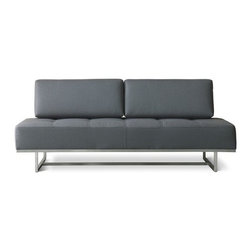 Gus Modern - James Sleeper Sofa - Relax in style with the James Lounge. Comfy and spacious, the back cushions are removable and can be used as a single bed. Perfect for unexpected night guests, this lounge is available in two fabrics, and will sure add a contemporary touch to any room. Note: Any orders to Canada will not be processed. This product does not ship to Canada. Features: -Base is stainless steel.-Back cushions are removable.-Sleeps one person comfortably.-Blind tufted seats.-Should you discover shortly after receiving your James Lounge that parts are either damaged or missing, please call us immediately, and we will be happy to send you replacement parts as soon as possible and at no additional cost.-Collection: Essentials.-Distressed: No.Dimensions: -Overall Dimensions: 31'' H x 76'' W x 36'' D.-Seat Height: 16.5''.-Overall Product Weight: 122 lbs.