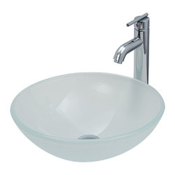Vigo - White Frost Vessel Sink and Faucet Set in Chrome - The VIGO White Frost glass vessel sink with Chrome faucet set will provide a fresh look to your bath.