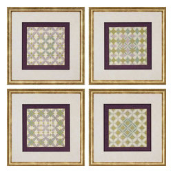 Paragon - Fleur de Tiles PK/4 - Framed Art - Each product is custom made upon order so there might be small variations from the picture displayed. No two pieces are exactly alike.