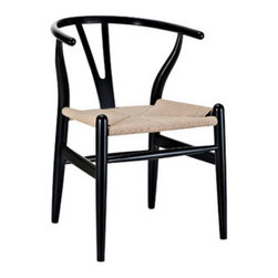 "LexMod - Amish Wooden Dining Chair in Black - Amish Wooden Dining Chair in Black - Time flows effortlessly through the Amish wooden dining chair. The craftsmanship is evident throughout a piece that appears both petite and boldly courageous. While Amish conveys a transitional feel with its solid beechwood back and base, the result is an enduring design with a style that doesnt fade. Given the iconic form and staggered-level wooden support rods, Amish deftly develops the interplay between permanence and sequential movements forward. The seat is made of paper rope, a new twine that is eco-friendly, soft, anti-static and durable. Set Includes: One - Amish Wood Dining Armchair Durable Paper Rope Seat, Solid Beech Wood Frame, Fully Assembled, Sturdy Construction Overall Product Dimensions: 22""L x 21.5""W x 28.5""H Seat Dimensions: 14.5""L x 17""H Armrest Height: 28""H - Mid Century Modern Furniture."