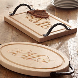 Maple Leaf at Home Personalized Cutting Boards - Sample cheeses on a beautiful carved wood tray that has your initials printed on it.