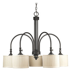 Thomasville Lighting - Thomasville Lighting Clayton Transitional 5-Light Chandelier X-48-2244P - This drum chandelier offers classic vintage styling with minimalistic lines. The Thomasville Lighting Clayton Transitional chandelier features five cream linen fabric shades with soft side pleats on the surface creating excellent lighting to the room. The Espresso finish highlights the graceful arcs of the chandelier.