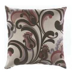 "Canaan - 24"" x 24"" Romanza Aubergine Pattern Fabric Throw Pillow with Insert and Cover - 24"" x 24"" Romanza aubergine pattern print fabric throw pillow with a feather/down insert and zippered removable cover. These pillows feature a zippered removable 24"" x 24"" cover with a feather/down insert. Measures 24"" x 24"". These are custom made in the U.S.A and take 4-6 weeks lead time for production."