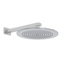 """Hudson Reed - 12"""" Bathroom Round Shower Head Rain Style Chrome Overhead & Rectangular Wall Arm - Enjoy a sensational showering experience with this 12"""" round shower head and wall mounted arm from Hudson Reed. Perfect for a adding a touch of designer style to your bathroom, this high quality shower head features a chrome finish and easy to clean nozzles."""