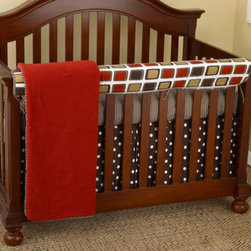 Cotton Tale Designs - Houndstooth Front Crib Rail Cover Up Set - A quality baby bedding set is essential in making your nursery warm and inviting. All Cotton Tale patterns are made using the finest quality materials and are uniquely designed to create an elegant and sophisticated nursery. Bright red, brown, tan and white in contemporary cotton duck with houndstooth trim. Houndstooth Front Crib Rail Cover Up Set includes fitted crib sheet, dust ruffle, coverlet, and front rail cover up. What a great idea, this front rail cover up protects your foot board on the convertible cribs and it looks great, measuring 51 x 15. For the parent choosing not to use a bumper, it can add the needed decor lost when the bumper is removed. 250 thread count sheet in cotton houndstooth, tailored bed skirt in espresso dot. Coverlet in soft red matte lasse with minky lining. Neutral bedding perfect for a boy or a girl. Wash gentle cycle, separate, cold water. Tumble dry low or hang dry.