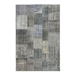 """Pre-owned Light Gray/Beige Overdyed Turkish Patchwork Carpet - Traditional Turkish patterns from an assortment of vintage pieces mix to make this hand made, naturally distressed vintage rug. Full cotton backing and decorative blanket stitch edging.    Remnants of vintage wool on a cotton warp, made entirely by hand in the '60's through '80's when Turkish women still included weaving in their daily homemaking chores. Employing the sturdy double knot technique unique to Turkish rugs, multicolor floral and medallion motifs were created a row at a time using bright hand dyed wools. Considered too old fashioned for modern Turkish homes in their traditional incarnations, these rugs have languished in back rooms of the bazaars‰Ű_until now, as these fragments in excellent condition are overdyed and combined to create modern patchwork statements for the floor.    Note from the seller: """"Our revitalization process keeps rugs that may otherwise get tossed out of landfill. Repurposed discards are helping artisans connect and create, supporting the community we're building here in Istanbul to revive vanishing traditional fiber crafts.‰Űť    Please note that all sales are final - These amazing rugs are coming direct from Istanbul, Turkey and returns will not be allowed."""