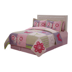 Pem America - Pink Butterfly Flower Twin Quilt with Pillow Sham - Pink Butterfly Flower brings a bright garden of purple, pink and green into your room.  Large scale applique butterflies dance around the face of the quilt admiring the pretty spring flowers and casual butterflies. Includes 1 twin size quilt 68x86 inches and 1 pillow sham. 100% cotton face material and microfiber polyester back.  Filled with 50% cotton / 50% polyester. Machine washable.