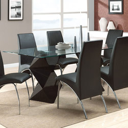 Coaster - Ophelia Dining Table - The sleek contemporary style of this set will create a sophisticated focal point in your updated kitchen or dining room. The bold double black zig zag table base compliment the black vinyl arch design of the chairs. The graceful curves and designs of this group as a whole add to the chic modern appeal.