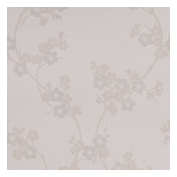 Graham & Brown - Cherry Blossom Wallpaper - we have taken inspiration from the world known cherry blossom flower, we have created white wallpaper that will stand out on the walls with its pearl affect shimmer.