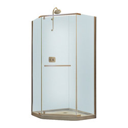 """BathAuthority LLC dba Dreamline - Prism Frameless Pivot Shower Enclosure, 36 1/8"""" D x 36 1/8"""" W x 72"""" H - The Prism Neo-angle shower enclosure is a space saver with a unique corner installation that creates a stunning focal point. This modern shower enclosure combines a clean frameless design, elegant pivot operation and premium 3/8 in. thick tempered glass. Choose the Prism shower enclosure for the centerpiece of your bathroom design."""