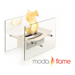 Moda Flame - Moda Flame Cavo Table Top Ventless Bio Ethanol Fireplace in White - Table Top Ventless Bio Ethanol Fireplace in White belongs to Cavo Collection by Moda Flame Elevate the heart and uplift the mind with a liberated Cavo ventless bio ethanol fireplace. The modern arched fireplace with two glass supports gives perception of floating fire. Its sophisticated yet elegant, with all the benefits of a bio ethanol fireplace has to offer. Perfect present for anyone as it is ventless, clean burning and no installation required. The Cavo ventless fireplace is light weight and can be used outdoors and indoor. Fireplace (1)