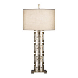 Fine Art Lamps - Allegretto Silver Table Lamp, 787310ST - Bring bold style and warm light to your favorite setting with this table lamp. A smartly styled cutout base lofts a white textured linen shade — the perfect look for your traditional or contemporary space.