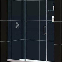 """Bath Authority DreamLine - Bath Authority DreamLine Mirage Frameless Sliding Shower Door with Shelves and S - This kit pairs a MIRAGE sliding shower door and coordinating SlimLine shower base to completely transform a shower space. The MIRAGE uses innovative hardware to provide the space-saving benefits of a sliding door without compromising the beauty of a completely frameless glass design. A coordinating SlimLine shower base completes the picture with a sleek low profile design. DreamLine(TM) shower kits deliver an efficient yet elegant solution with the look of custom glass at an exceptional value. Features Items included: Mirage Shower Door and 30"""" x 60"""" Single Threshold Shower BaseOverall kit dimensions: 30""""D x 60""""W x 74-3/4""""H Mirage Shower Door: 56-60"""" W x 72"""" H Premium 3/8"""" (10 mm) thick clear tempered glass Chrome or Brushed Nickel finish hardware Frameless glass design Width installation adjustability: 56-60"""" Out-of-plumb installation adjustability: No Unique fully frameless sliding shower door design One sliding panel with two stationary panelsStationary glass panel with two glass shelves Aluminum bottom guide rail may be shortened by cutting up to 4"""" Door opening: 18 - 22"""" Stationary panels: 25-1/4"""" and 8"""" Reversible for """"right"""" or """"left"""" door opening installation Material: Tempered Glass, Aluminum, Brass Tempered glass ANSI certified 30"""" x 60"""" Single Threshold Shower Base: High quality scratch and stain resistant acrylic Slip-resistant textured floor for safe showering Integrated tile flange for easy installation and waterproofing Fiberglass reinforcement for durability cUPC certified Drain not included Product Warranty: Shower Door: Limited 5 (five) manufacturer warranty Shower Base: Limited lifetime manufacturer warranty Installation Guide Technical Drawing for Shower Door Review the technical drawing for Shower Base Center Drain Review the technical drawing for Shower Base Left Drain Review the technical drawing for Shower Base Right Drain Information"""