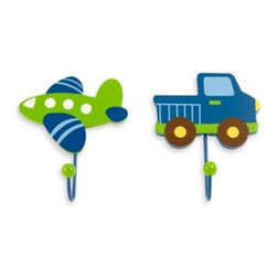 Nojo - NoJo Transportation 2-Pack Decorative Wall Hooks - Decorative Wall Hooks come in a set of 2, a truck and a plane. Hooks easily coordinate with many nursery or child room themes.