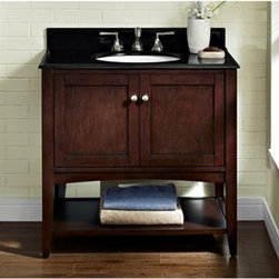 """Fairmont Designs - Fairmont Designs Shaker Americana 36"""" Vanity - Open Shelf - Habana Cherry - Fairmont Designs is described in two words; quality and beauty. Express your creativity with Fairmont Designs bathroom vanities and bath furniture ensembles. The distinctive families of bath furniture from Fairmont Designs come in styles for every bath. Artistry and elegance are delivered in carefully constructed products built with sustainable materials and sturdy craftsmanship. From petite corner solutions to traditional sized pieces, Fairmont Designs is your choice for exquisite and timeless beauty.The Shaker Americana offers clean lines; exceptional durability and fine craftsmanship render this sensible and gracious style as popular today as it was in the 19th century. Featuring a streamlined silhouette, simple brushed nickel hardware and gentle tapered legs in a crisp Polar White or Habana Cherry finish; the Shaker Americana will enhance any bathroom setting Features Poplar Solids with Cherry Veneers 2 Doors Hinges: Fully concealed, Soft closing Open Shelf Hardware: Brushed Nickel Actual cabinet color may vary because each piece is handmade and finished How to handle your counterView Spec Sheet"""