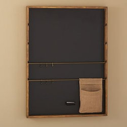 Rustic Home Office Wall Organizer Chalkboard - This relaxed wall-mounted system organizes your household's busy schedule. The Burlap-covered sliding pinboard/chalkboard design lets you pin up cards and calendars and write notes on chalkboard surface. The Activity Center has six cubbies to organize accessories and display special momentoes with space for to-do lists and notes. Burlap-covered pinboard design was re-created from vintage postmarks. Whiteboard calendar offers space for to-do lists and notes, and includes a dry-erase pen and eraser. Magazine Rack has three bars to suspend magazines. Framed in solid wood and sealed with our natural rustic finish. Catalog / Internet only.