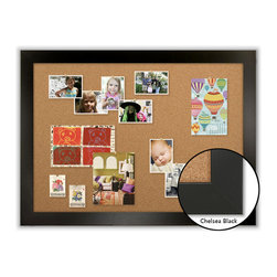 "Corkboard - Framed Corkboard, Chelsea Black Satin, 44"" x 32"" - Dimensions include frame."
