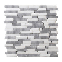 StoneSkin Peel-n-Stick Random Strip Mosaic, White/Gray Mix - This is a lovely gray and white backsplash tile. I love the unique shapes and sizes of the individual stones.