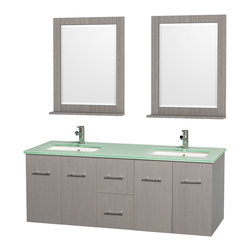 """Wyndham Collection - Centra 60"""" Grey Oak Double Vanity, Green Glass Top, Undermount Square Sinks - Simplicity and elegance combine in the perfect lines of the Centra vanity by the Wyndham Collection. If cutting-edge contemporary design is your style then the Centra vanity is for you - modern, chic and built to last a lifetime. Available with green glass, pure white man-made stone, ivory marble or white carrera marble counters, with stunning vessel or undermount sink(s) and matching mirror(s). Featuring soft close door hinges, drawer glides, and meticulously finished with brushed chrome hardware. The attention to detail on this beautiful vanity is second to none."""