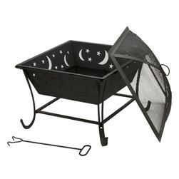 Kay Home Products - Luna Outdoor Fire Bowl - Luna Outdoor Fire Bowl: The Kay Home Luna Outdoor Fire Bowl is constructed with steel and a high temperature paint. A spark guard sits on top of the fire pit, protecting your friends and family from stray sparks and embers. The decorative star and moon cut-outs illuminate the base and allow this fire pit to give your patio a unique feel, perfect for enjoying a night outdoors. Burn wood, charcoal and artificial logs in this fire pit.Features: