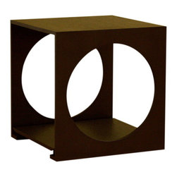 Wholesale Interiors - Round Cut Out Black Wood End Table - Unique and stylish end table is sure to enhance and compliment any decor. End table features durable oak wood construction with unique circle cut design and storage area. Its perfect combination of quality craftsmanship and simple, sophisticated designs will instantly enhance your living space. Overall measures 17 inches wide x 17 inches deep x 18 inches high.
