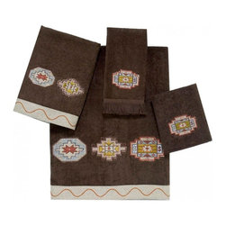 Avanti Linens - Tangine 4 Piece Cotton Towel Set by Avanti Linens - These soft mocha towels showcase beautiful embroidered Aztec medallions in warm southwestern colors. They are finished with a coordinating fabric trim with stitching detail