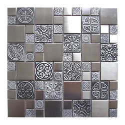 Eden Mosaic Tile - Roman Pattern Stainless Steel And Pewter Accents Tile Pack (11 Sheets) - Inspired by the antique cobblestone streets of Europe this metal mosaic stainless steel tile features three different sizes of tile including a large square small square and medium brick but also features matte pewter resin accents that have a unique design and texture. This tile is ideal for stainless steel kitchen backsplashes, accent walls, bathroom walls, and bathroom back splashes. The tiles in this sheet are mounted on a nylon mesh which allows for an easy installation. Imported.