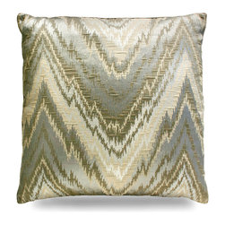 "Chevron Metallic Pillow - 24"" - A subtle traditional pattern with shimmering earth tones  give a visual pop to your armchair, daybed, or window seat. Instantly catching the eye as it catches the light, the Chevron Metallic Pillow is an impressive accent for any space you decide to grace it with."