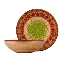 "Traders and Company - Hand-Painted Red, Gold & Green Embossed Glass Sm Salad Bowl, 9.75""D - Rococo - Inspired by the decorative style of the bejeweled mosaics of Byzantine.  These rich colored plates and bowls have been adapted to express the mystic character of the Byzantium Empire. Alternate shapes & styles sold separately. Hand wash only; not for use in dishwasher, microwave, or oven."