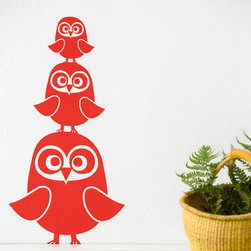Three Owls Wall Stickers - Red - With our decorative WallStickers, it is easy to create a new look and change the style of a room in a matter of minutes. Can be applied to all even and smooth surfaces. Will not stick to rough surfaces, such as brick walls etc.