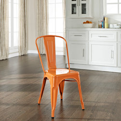 Crosley Furniture - Amelia Metal Cafe Chair in Orange - Set of 2 - Includes (2) Chairs. Sturdy Steel Construction. Easy To Assemble. UV Resistant. Stackable. . Powdercoated Finish. 17 in. W x 21 in. D x 34 in. H