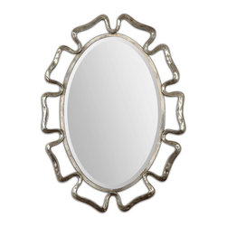 "Uttermost - Uttermost 12874  Beccaria Silver Oval Mirror - The curvacious frame is made of hand forged metal finished in an oxidized plated silver. mirror features a generous 1 1/4"" bevel. may be hung horizontal or vertical."