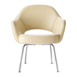 Saarinen Executive Leather Armchair with Metal Legs
