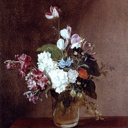"""Louis-Leopold Boilly Still Life With Garden Flowers Print - 18"""" x 24"""" Louis-Leopold Boilly Still Life With Garden Flowers In A Glass Vase And A Dragonfly premium archival print reproduced to meet museum quality standards. Our museum quality archival prints are produced using high-precision print technology for a more accurate reproduction printed on high quality, heavyweight matte presentation paper with fade-resistant, archival inks. Our progressive business model allows us to offer works of art to you at the best wholesale pricing, significantly less than art gallery prices, affordable to all. This line of artwork is produced with extra white border space (if you choose to have it framed, for your framer to work with to frame properly or utilize a larger mat and/or frame).  We present a comprehensive collection of exceptional art reproductions byLouis-Leopold Boilly."""