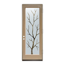Sans Soucie Art Glass (door frame material Plastpro) - Glass Front Entry Door Sans Soucie Art Glass Branch Out - Sans Soucie Art Glass Front Door with Sandblast Etched Glass Design. Get the privacy you need without blocking light, thru beautiful works of etched glass art by Sans Soucie!This glass is semi-private. Door material will be unfinished, ready for paint or stain.Bronze Sill, Sweep and Hinges. Available in other finishes, sizes, swing directions and door materials.Dual Pane Tempered Safety Glass.Cleaning is the same as regular clear glass. Use glass cleaner and a soft cloth.
