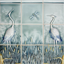 Sealife and Pond Themes - Pratt and Larson's heron panel handpainted in waterway 07. Also available in any of our extensive glaze options.
