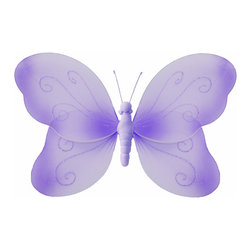 Bugs-n-Blooms - Hanging Butterfly Medium Purple Swirls Nylon Butterflies Wall Ceiling Decoration - Hanging Swirls Butterfly - Beautiful nylon hanging kids wall or ceiling decor, baby decoration, childrens decorations. Ideal for Baby Nursery Kids Bedroom Girls Room. This nylon butterfly has pretty swirls of glitter to give it that special shine. This pretty butterfly decoration is made with a soft bendable wire frame. Beautiful 3D hanging nursery, bedroom, birthday party, baby shower or wedding decor. Includes a piece of fishing line and hoop for easy hanging to any wall or ceiling (removable if desired). Sold individually. Visit our store for more great items. Additional sizes are available in various colors, please see store for details. Please visit our store on 'How To Hang' for tips and suggestions. Please note: Sizes are approximate and are handmade and variances may occur. Price is per each butterfly (1) piece