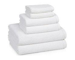 Kassatex - Kassatex Linea Collection 6-pc. Towel Set, White - Stripes add a little extra oomph to these velvety, cozy towels that look as good hanging from a hook as they feel drying you off after your morning shower. Available in a variety of soft, happy colors that add cheer to bath time.