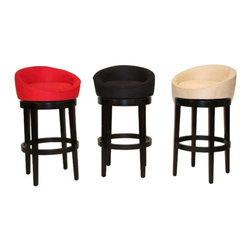 """Armen Living - Armen Living Igloo 30 in. Low Back Bar Stool - LCIGBAMFBL30 - Shop for Stools from Hayneedle.com! Transform your bar into a space-age hangout with Armen Living 30-Inch Igloo Low Back Bar Stool. These futuristic bar stools have a perfectly round low-backed seat for a striking modern look. The microfiber upholstery is easy-to-clean and is available in your choice of brilliant solid colors to suit your decor. The frame and legs are solid wood with an elegant black finish. The seat can swivel 360 degrees so you can comfortably hop in and out of the stool without pulling it away from the counter.The Igloo also comes in a coordinating Counter Height stool please view """"Related Items"""". Please note: This item is not intended for commercial use. Warranty applies to residential use only.About Armen LivingImagine furniture without limits - youthful robust refined exuding self-expression at every angle. These are the tenets Armen Living's designers abide by when creating their modern furniture collections. Building on more than 30 years of industry experience Armen Living combines functional versatility and expert craftsmanship into their dramatic furniture styles all offered at price points fit for discriminating budgets. Product categories include bar stools club chairs dining tables ottomans sofas and more. Armen Living is based in Sun Valley Calif."""