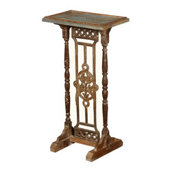 Sierra Living Concepts - Empire Double Pedestal Reclaimed Wood & Iron Side Table - Small tables were a sign of refinement and status in homes during the 1700s and 1800s. They were used to hold a book, set down a cup of tea or position a lamp. Now you can appreciate these small comforts with our Empire Double Pedestal Accessory Side Table. The hand turned posts are reclaimed wood from Gujarat and retain their weathered surfaces. The base and decorative center piece with the floral medallion is made of iron.