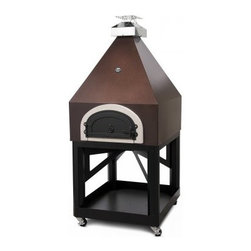 Chicago Brick Oven 750 Pyramid Mobile Pizza Oven - The Chicago Brick Oven 750 Pyramid Mobile Pizza Oven is a beautiful structure that's sure to complement your patio setup! This pre-assembled wood-fired oven rides on a powder coated stand with smooth rolling casters so you can cook wherever you like. This oven is made from insulating materials and a specially fabricated steel cabinet that creates a heating envelope for a quicker rise in temperature on the inside all while remaining cool to the touch on the outside. And speaking of the outside your new wood-fired oven comes in your choice of two color options. Best of all this convenient cart also gives you a handy place to store logs for the fire! About Chicago Brick Oven This USA-based company is all about taking the classic brick oven design and charging it with the best engineering and technology available today. It's a revolutionary idea that took shape at a friendly gathering in May of 2006 when three neighbors all keen on buying a wood-fired brick oven decided to save money and go in together. After doing the research these pals realized that most residential outdoor wood-fired ovens had to be imported to the USA and that didn't seem right at all. They wanted to make pizza - now - without the extreme wait and expense that comes from overseas shipping. Knowing they weren't alone in their passion for brick oven flavor they started Chicago Brick Oven to create the best cooking equipment stateside so no American would ever have to go struggle to purchase a quality wood-fired oven ever again.