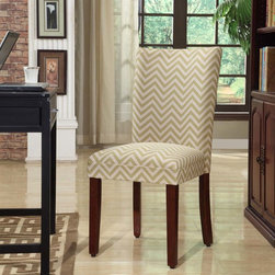 Kinfine - Citron and Cream Chevron Parsons Chair (Set of 2) - These comfortable, homey chairs feature unique upholstery designs in a number of exciting colors. The seat's classic, timeless design make this chair an ideal accent for bedrooms or foyers, while retaining the ability to function as part of a complete dining ensemble.