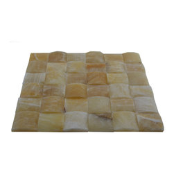 "Honey Polished Pillow Edge Pattern Mesh-Mounted Onyx Tiles - 2"" x 2"" Honey Mesh-Mounted Pillow Edge Pattern Onyx Mosaic Tile is a great way to enhance your decor with a traditional aesthetic touch. This polished mosaic tile is constructed from durable, impervious onyx material, comes in a smooth, unglazed finish and is suitable for installation on floors, walls and countertops in commercial and residential spaces such as bathrooms and kitchens."