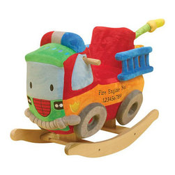 Charm Co. - Freddy Fire Truck with Sound - Freddy Fire Truck is perfect for your future fireman! The fire truck is friendly looking, with a bright plush body. Your little firefighter will find 4 colored shapes that activate original songs that teach ABCs, 123's, colors, shapes and more!