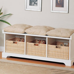 Coaster - Beige Transitional Bench - Complete with baskets and cushions, this storage bench in white is perfect for any entry way.
