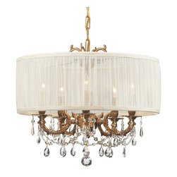 Crystorama - Crystorama Brentwood 1 Tier Chandelier in Aged Brass - Shown in picture: Ornate Casted Aged Brass Chandelier with Clear Hand Polished Crystal and an Antique White Shade; This isn't your Grandmother's crystal. The Brentwood Collection from Crystorama offers a nice mix of traditional lighting designs with large tailored encompassing shades. Adding either the Harvest Gold or the Antique White shade to these best selling skus opens the door to possibilities for these designer friendly chandeliers. The Brentwood Collection has a touch of design flair that will work for your traditional or transitional home.