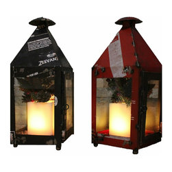 The Firefly Garden - Christmas Carole - Illuminated Floral Design, Red and Black - Bring a modern holiday look to your front porch with reclaimed steel lanterns.  Available in Black and Red -- these lanterns are illuminated with a wax LED candle with remote control -- easy to turn on and off.  Your guests will not forget this unique welcome to your home at the holidays.