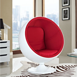 MODERN BALL SHAPED RED LOUNGE CHAIR INSPIRED BY EERO AARNIO DESIGN - MODERN BALL SHAPED RED LOUNGE CHAIR INSPIRED BY EERO AARNIO DESIGN